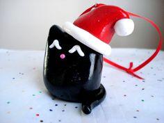 Black Cat Ornament Polymer Clay Black Fat Cat by MagicalMeGifties, $12.99