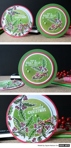 Circle shaped Christmas cards created by Jayne Nelson using Hero Arts Circle Infinity Dies