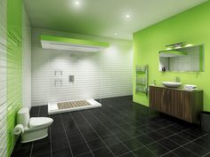 Outstanding Black Ceramics Flooring Combined with White and Green Bathroom Paint Ideas Installed with Clear Glass Shower Room also White Toilet Seat and Wooden Vanity and Towel Rack