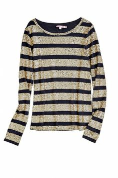 Olma Striped Sequin Encrusted Tee @Kristen Kyslinger St. Barth