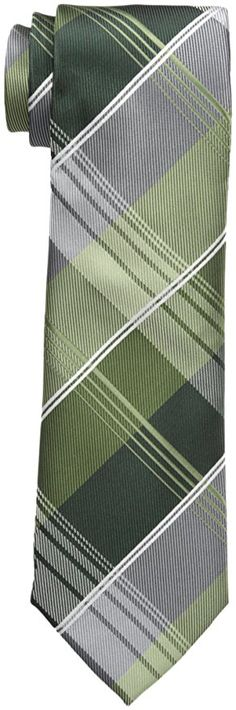 Geoffrey Beene Men's P For Plaid Tie, Green, One Size