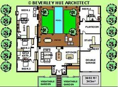 large single storey home floor plans with pool and courtyard australia - Google Search
