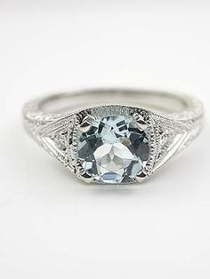 Aquamarine Filigree Engagement Ring. @Robyn...what about this?  It's gorgeous!