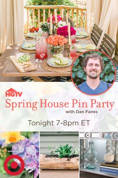 Bring home fresh ideas for your home.  Join HGTV and designer, Dan Faires for a spring pin party Tonight 7-8EST --> http://www.pinterest.com/hgtv/hgtvs-spring-house/