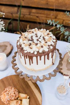 Smore's-inspired Drip Cake from a Mountain Camping Outdoor Baby Shower 30th Birthday Parties, Birthday Party Decorations, Boy Birthday, Birthday Ideas, Sugar Plum Bakery, Outdoor Cake Smash, Smores Cake, Joyous Celebration, Outdoor Baby
