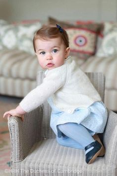 Princess Charlotte wearing Early Days Emma Pre-Walker in Navy, Oliver Baby Cashmere Rose Stitch Cardigan in Cream, M&H Fall 2015 Dress, Amaia Ribbed Tights in Light Blue and Amaia Kids Small Hair Bow in Navy