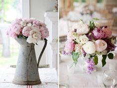 Top 10 flores de boda 4 peonias regadera cinc centro mesa
