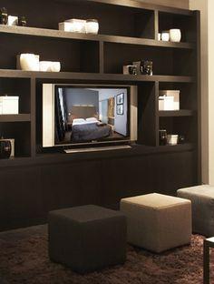 Bibliothèque de télévision contemporaine en chêne - XVL Home Collection - @ Walt Interiors - Antwerpen - Belgium