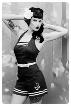 Fierce Rockabilly Pin Up! Love! :: Nautical Fashion:: Rockabilly Sailor Pin Up:: Rockabilly Hair