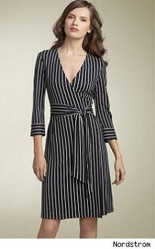 black stripes wrapover dress. wrapover : open in the side and is wrapped around the body. (Patricia Andriani FD1A1)