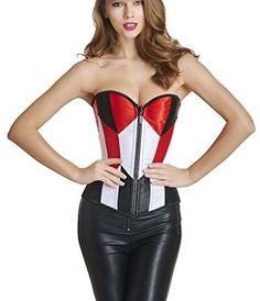 f594b6582604b Killreal Womens Burlesque Sassy Mix Color Rhinestone Zipper Bodyshaper  Overbust Corset Bustier BlackRed Medium