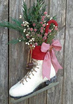 ICE SKATE Holiday decor Christmas Ice skate Wreath