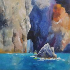 Original Small Oil PaintingSicilian coast sea by DustyLaneStudio