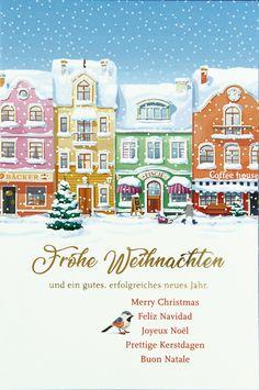 Frohe Weihnachten, Merry Christmas, Feliz Navidad... Wenn Sie sich nicht entscheiden können, in welcher Sprache die guten Wünsche am Besten klingen, dann ist diese #Weihnachtskarte genau die richtige für Sie!!!👍 Christmas Graphics, Illustration, Merry Christmas, City, Movie Posters, Movies, Xmas, Winter Scenery, Xmas Cards