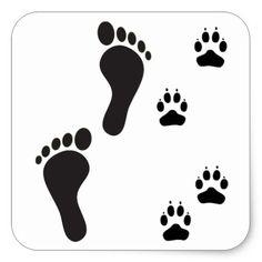 pet paw print art - Dog paw prints with Human foot print Square Sticker Zazzle com