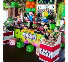 Minecraft Birthday Party, 10th Birthday Parties, 7th Birthday, Birthday Ideas, Minecraft Gifts, Creeper Minecraft, Boy Sleepover, Fiesta Party, School Parties