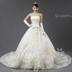 $286.49 Graceful Bowknots Design Strapless Chapel Train Wedding Dress For Bride