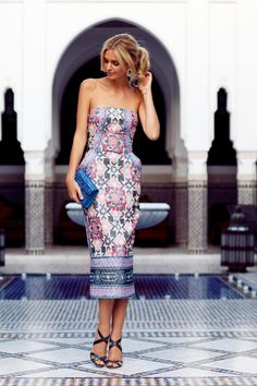 elegant strapless patterned dress
