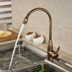 Deck Mount Kitchen Sink Faucet Single Handle With Hot & Cold Water Mixer Taps Antique Brass