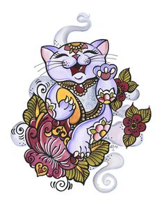 Giclee Prints by Dawnii : Lucky Cat