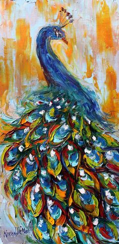 Original oil painting Luminous Peacock Bird Palette knife modern impressionism impasto fine art by Karen Tarlton