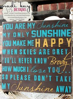 You Are My Sunshine Wall Art Wood or Canvas Sign by MadiKayDesigns, $44.99
