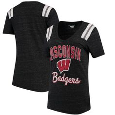 92c76bbf3 5th   Ocean by New Era Wisconsin Badgers Women s Heathered Black Football  Tri-Blend V-Neck T-Shirt