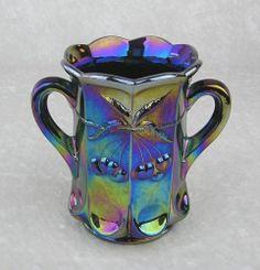 Mosser Glass USA-Cherry Thumbprint Amethyst Carnival 2 Handle Open Spoon Vase