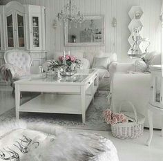 Love the basket with flowers on the floor