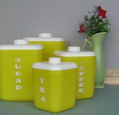 vintage kitchen decor - canister set - Lemon Drop - bright yellow on Etsy, $38.00