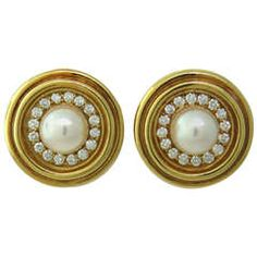 Mikimoto Gold Pearl Diamond Earrings