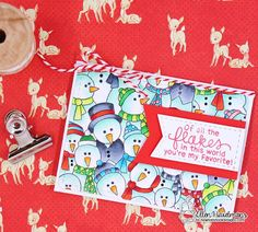 Snowmen Card by Ellen Haxelmans | Frozen Fellowship Stamp Set by Newton's Nook Designs #newtonsnook #handmade