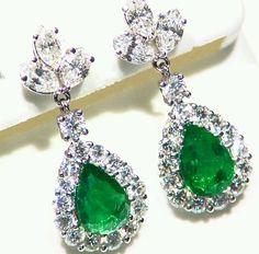 5.97CT 18K GOLD NATURAL ROUND CUT WHITE DIAMOND EMERALD DROP ENGAGEMENT EARRINGS #Handmade #DropDangle