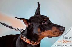 Handmade Leather Dog Collar for Doberman