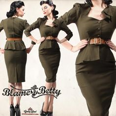 This absolutely stunning military inspired Cadet Dress is back in stock, S-XXXL :) This dress is inspired by the 1940's military forces, and features the classic sweetheart neckline with a beautiful shoulder design and 3 brass buttons along the center front. The 3/4 sleeves have brass button details in the cuff. Very fitted throughout the bodice, with a nice peplum that enhances all shapes and sizes! Belt is cognac, the perfect color to accentuate the army green fabric.