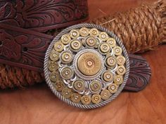 Shotgun & Bullet Casing Round Western Belt Buckle