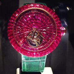 The #MagnificentJewels Piece of the Day: the #oneofakind invisibly set Burma #ruby Tourbillon #watch. #jacobandco