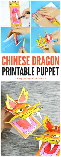 Printable Chinese Dragon Puppet Craft with Template. Fun Chinese New Year Craft for Kids to Make.