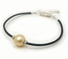 Golden South Sea Pearl Bracelet with Leather Cord