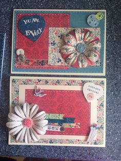 cards using sew lovely range from docrafts