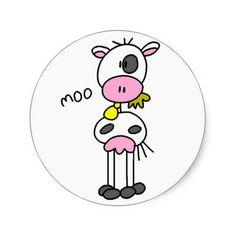 Cow Stick Figure Sticker