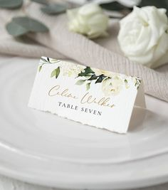 Wedding Place Card Template with Watercolor Cream Florals & Greenery, Printable Name Card, Greenery Seating Card, Editable Template, by AliceBluefox on Etsy Wedding Table Name Cards, Wedding Seating Cards, Wedding Place Settings, Wedding Place Card Holders, Table Cards, Printable Place Cards, Place Card Template, Wedding Stationery, Wedding Invitations