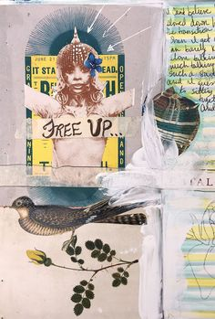 Mixed-media and collage come together on this art journal page by Anahata Katkin, featured in the Artist Profile of the October 2015 Issue of Art Journaling.