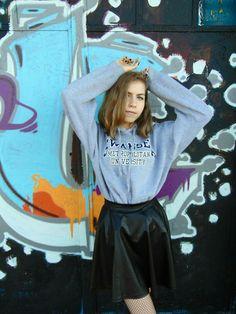 💘  #outfit #jumper #skirt #trainers #streetstyle #ootd #outfitoftheday #Street #style #style #Fashion  More on my blog: https://dziewczynawczarnymkapeluszu.blogspot.com