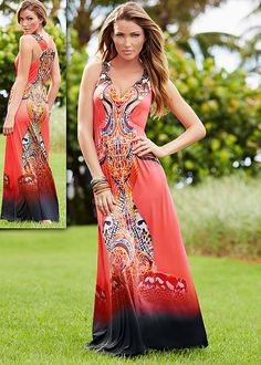 Print maxi dress in the VENUS Line of Dresses for Women