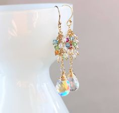 Gold Cluster Earrings Sparkly Earrings Swarovski Jewelry Handmade Accessories Multi Colored Fire Rainbow Aura Quartz Golden Earrings, Cluster Earrings, Gemstone Earrings, Drop Earrings, Earrings Handmade, Handmade Jewelry, Unique Jewelry, Swarovski Jewelry, Swarovski Crystals