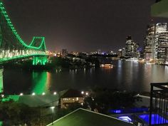 Tonight's view from our #apartment of the #Story #Bridge Brisbane #River and Brisbane #CBD. #cityscape #landscape #architecture #night #green #lights #urban #city #Queensland #Australia #QLD #IgersBrisbane #IgersQLD #IgersAustralia #travel #tourism #tourist #leisure #life
