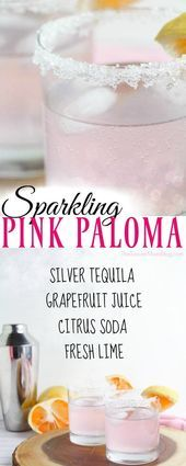 Sparkling Pink Paloma Cocktail Recipe Perfect for Cinco de Mayo! This gorgeous Sparkling Pink Paloma Cocktail Recipe will change the way you look at tequila! A festive drink perfect for brunch, parties, and holidays. Mezcal Cocktails, Beste Cocktails, Tequila Drinks, Pink Drinks, Drinks Alcohol, Pink Alcoholic Drinks, Paloma Cocktail, Cocktail Menu, Signature Cocktail