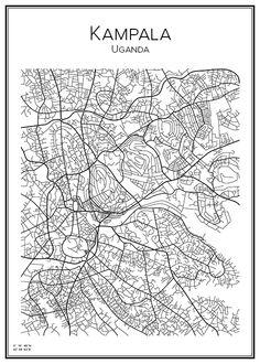Kampala. Uganda. Map. City print. Print. Affisch. Tavla. Tryck. Stadskarta.