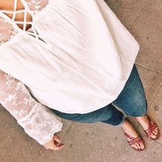 Trying to tackle this fall transition when it's 80 degrees out. So sandals and lace tops it is! http://liketk.it/2sZUL #liketkit @liketoknow.it
